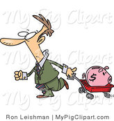 Swine Clipart of a Man Pulling a Piggy Bank in a Red Wagon by Toonaday