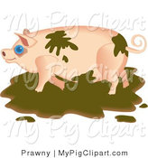 Swine Clipart of a Messy Pink Pig Playing in the Mud by Prawny