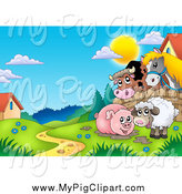 Swine Clipart of a Muddy Pig and Sheep with a Cow and Horse by Visekart