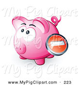 Swine Clipart of a Negative Icon Button over a Pink Piggy Bank by Beboy