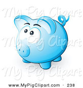 Swine Clipart of a Nervous Blue Piggy Bank Looking Upwards and Left by Beboy