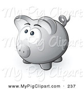 Swine Clipart of a Nervous Gray Piggy Bank Looking Upwards and Left by Beboy