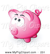 Swine Clipart of a Nervous Pink Piggy Bank Looking Upwards, Hoping Not to Be Smashed by Beboy