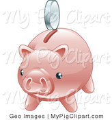 Swine Clipart of a Nickel Hovering Above the Slot of a Shiny Pink Piggy Bank by AtStockIllustration
