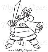 Swine Clipart of a Outlined Ninja Pig Armed with a Sword by Ron Leishman