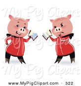 Swine Clipart of a Pair of Reading Pigs Holding a Book by Monica
