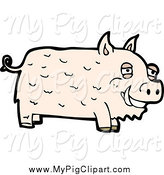 Swine Clipart of a Pale Pig by Lineartestpilot