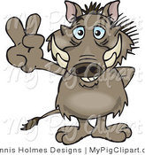 Swine Clipart of a Peaceful Brown Warthog Smiling and Gesturing the Peace Sign by Dennis Holmes Designs