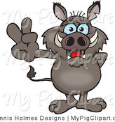 Swine Clipart of a Peaceful Gray Boar Smiling and Gesturing the Peace Sign with His Hand by Dennis Holmes Designs