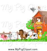 Swine Clipart of a Pig and Farm Animals Background by BNP Design Studio
