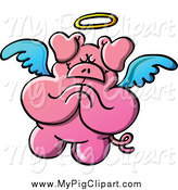 Swine Clipart of a Pig Angel Praying by Zooco