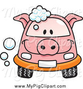 March 17th, 2015: Swine Clipart of a Pig Car with Soap Bubbles by Any Vector