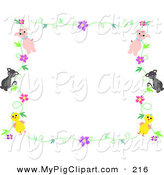 Swine Clipart of a Pig, Cat and Chick Floral Stationery White Border by