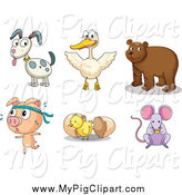 Swine Clipart of a Pig, Chick, Mouse, Bear, Duck and Dog by Graphics RF