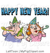 Swine Clipart of a Pig Couple in Party Hats, Drinking Champagne and Blowing Noise Makers Under a Happy New Year Greeting by LaffToon
