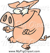 Swine Clipart of a Pig Doing a Happy Dance by Toonaday