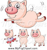 Swine Clipart of a Pig Doing Activities by Colematt