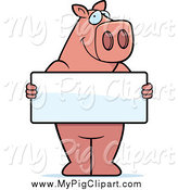 Swine Clipart of a Pig Holding a Blank Sign Board by Cory Thoman