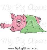 Swine Clipart of a Pig in a Green Blanket by Pams Clipart
