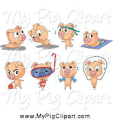 Swine Clipart of a Pig in Leisure and Fitness Poses by Graphics RF