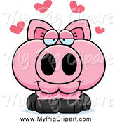 Swine Clipart of a Pig in Love by Cory Thoman