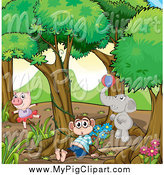 Swine Clipart of a Pig Monkey and Elephant in the Woods by Graphics RF