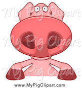 Swine Clipart of a Pig over a Blank Sign by Julos