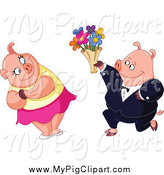 Swine Clipart of a Pig Presenting His Love with Valentines Day or Anniversary Flowers by Yayayoyo