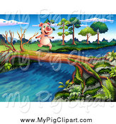 Swine Clipart of a Pig Running on a Log over a Stream by Graphics RF