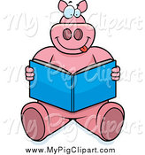 Swine Clipart of a Pig Sitting and Reading a Book by Cory Thoman