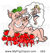 April 7th, 2013: Swine Clipart of a Pig Sitting in Apples, Thinking of a Cute Female by LaffToon