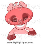 Swine Clipart of a Pig Smiling over a Sign by Julos