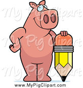 Swine Clipart of a Pig Standing with a Stubby Pencil by Cory Thoman