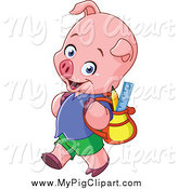 Swine Clipart of a Pig Student Walking to School by Yayayoyo
