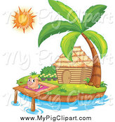 Swine Clipart of a Pig Sun Bathing by a Bungalow Hut on an Island by Graphics RF