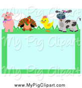 Swine Clipart of a Pig Turkey Duckling and Cow Frame by