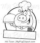 Swine Clipart of a Pig Waiter by Hit Toon