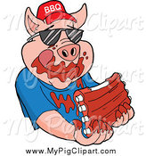 Swine Clipart of a Pig Wearing Sunglasses and a Bbq Hat and Eating Messy Ribs by LaffToon