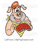 Swine Clipart of a Pig with a Scruffy Beard, Wearing a Bib and Chowing down on Ribs by LaffToon