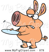 Swine Clipart of a Pig with an Empty Plate and Fly by Toonaday