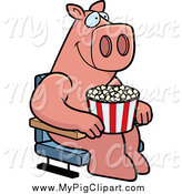 Swine Clipart of a Pig with Popcorn at the Movie Theater by Cory Thoman