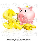 Swine Clipart of a Piggy Bank and Abundance of Gold Coins and Dollar Symbol by AtStockIllustration