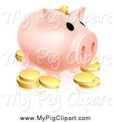 Swine Clipart of a Piggy Bank and Golden Coins by AtStockIllustration