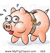 Swine Clipart of a Piggy Bank Being Squeezed by a Belt on White by Gnurf