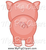 Swine Clipart of a Piggy Butt from Behind by BNP Design Studio