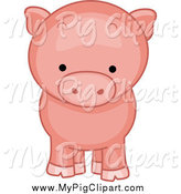 Swine Clipart of a Piggy from the Front by BNP Design Studio