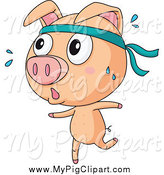 Swine Clipart of a Piggy Jogging by Graphics RF