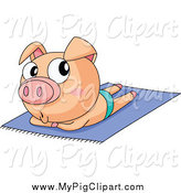 Swine Clipart of a Piggy Sun Bathing Topless by Graphics RF