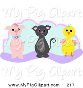 Swine Clipart of a Piglet, Kitten and Chick on a Blue and Purple Background by