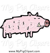 Swine Clipart of a Pink Boar Pig by Lineartestpilot